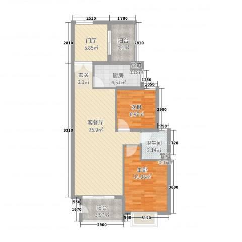 角美万达广场2室1厅1卫1厨66.04㎡户型图