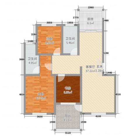 金枫苑阳光水岸3室1厅2卫1厨140.00㎡户型图