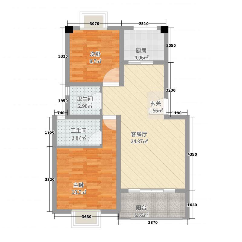 水金・欧洲小镇1.30㎡一期多层复式13号楼B1户型2室2厅2卫
