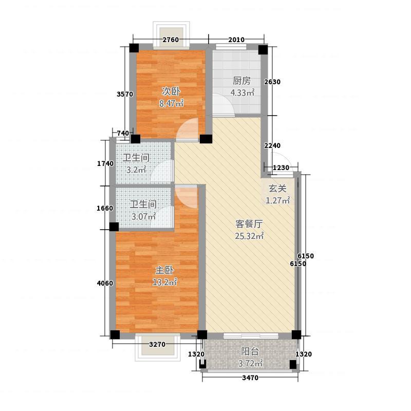 水金・欧洲小镇87.85㎡一期多层复式12号楼A1户型2室2厅2卫