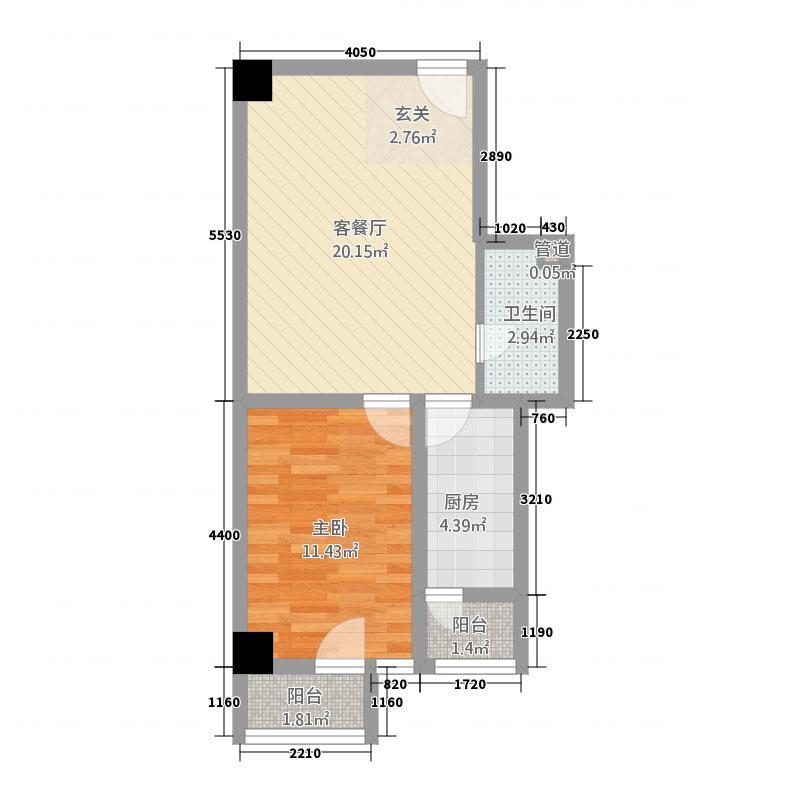 贺兰新天地62.14㎡B1公寓户型1室2厅1卫1厨