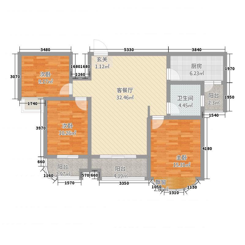 冠蒙・六合御庭126.25㎡13户型3室2厅1卫1厨