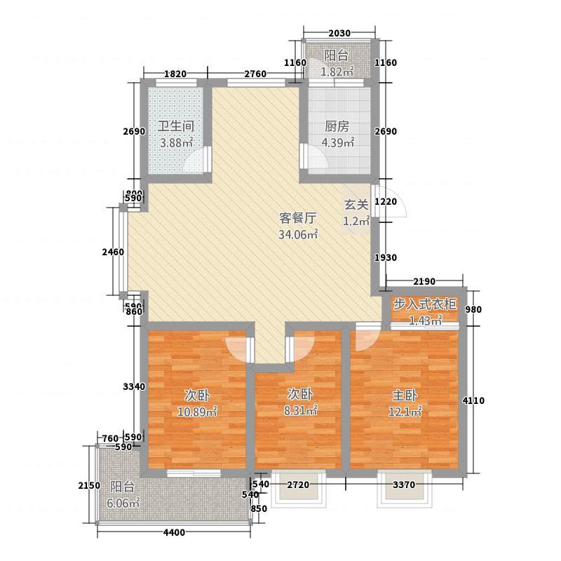 黄山花园户型图25栋A 3室2厅2卫1厨