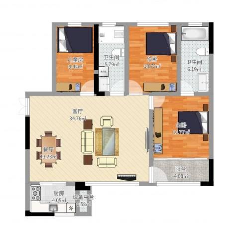 CROSS尚公馆3室1厅3卫1厨124.00㎡户型图