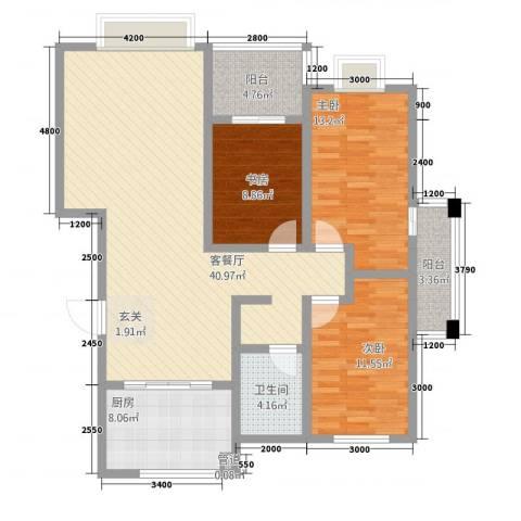 渤海花园3室1厅1卫1厨137.00㎡户型图
