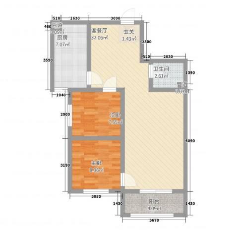 三秀公馆2室1厅1卫1厨61.86㎡户型图