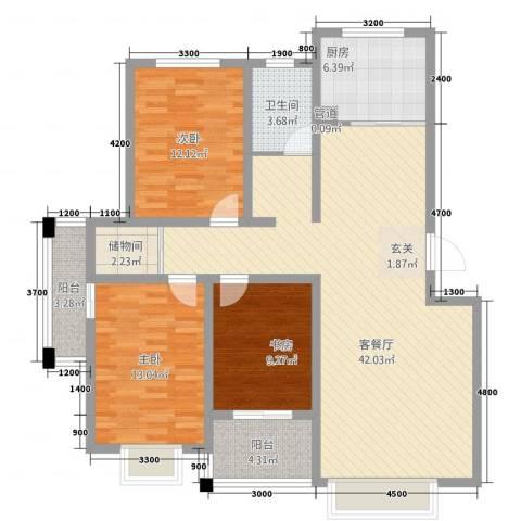 渤海花园3室1厅1卫1厨139.00㎡户型图