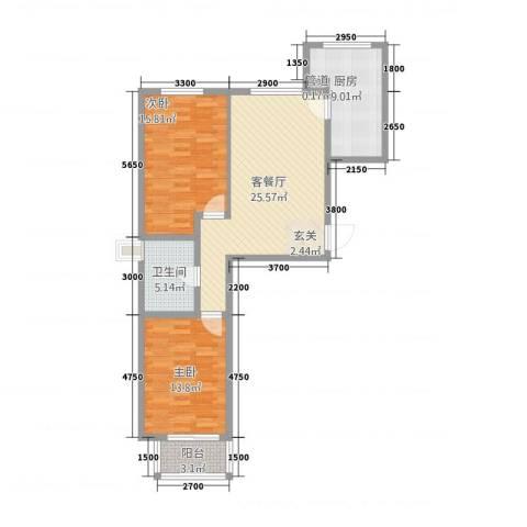 天人名仕乐居2室1厅1卫1厨72.60㎡户型图