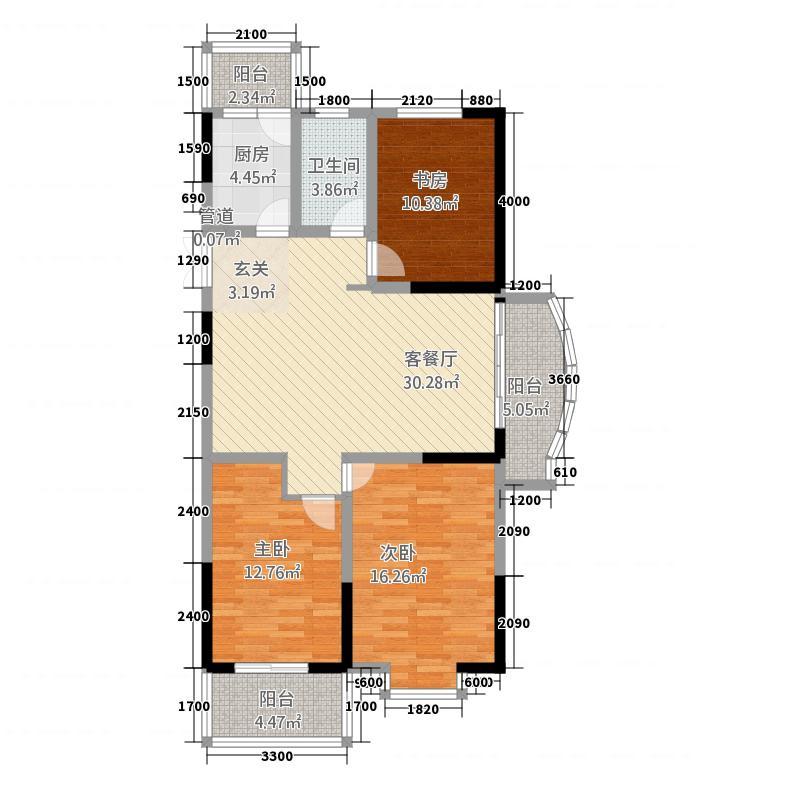国祯家园123.20㎡C1户型3室2厅1卫