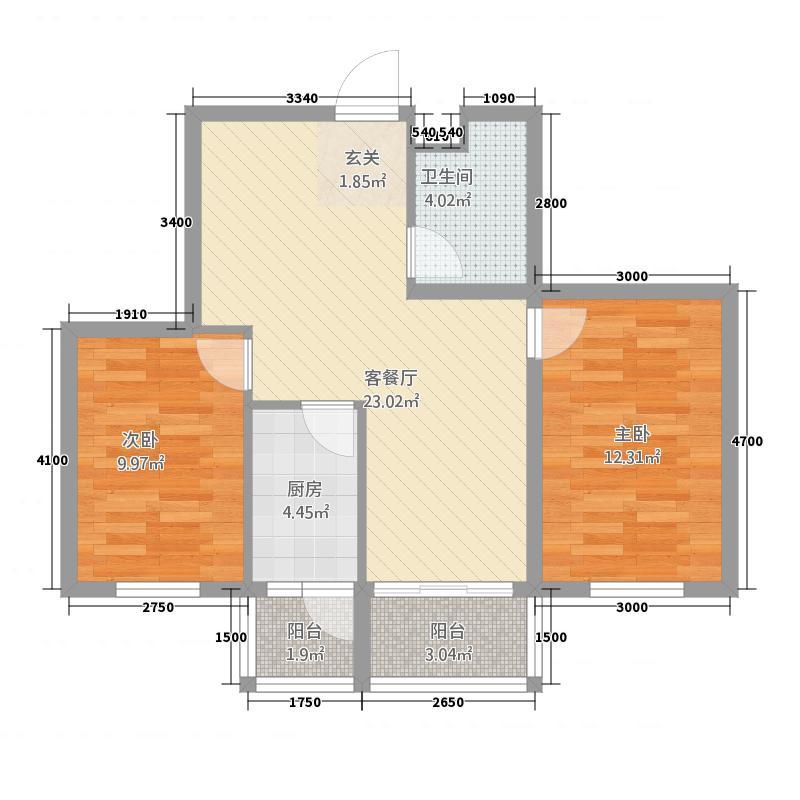 红山悦府7.00㎡70户型2室2厅1卫1厨