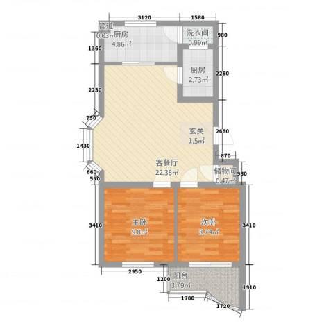 时代雅居2室1厅0卫2厨78.00㎡户型图