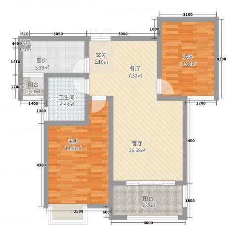 千林世纪城2室1厅1卫1厨69.22㎡户型图