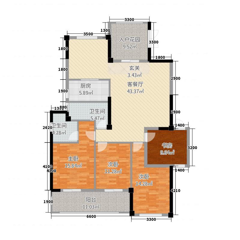郦景阳光二期2215.20㎡22#楼07单元4室户型4室2厅2卫1厨