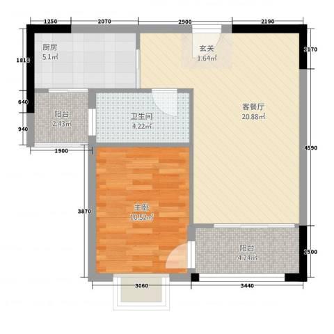 金霖华庭1室1厅1卫1厨67.00㎡户型图