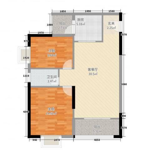 金霖华庭2室1厅1卫1厨71.95㎡户型图