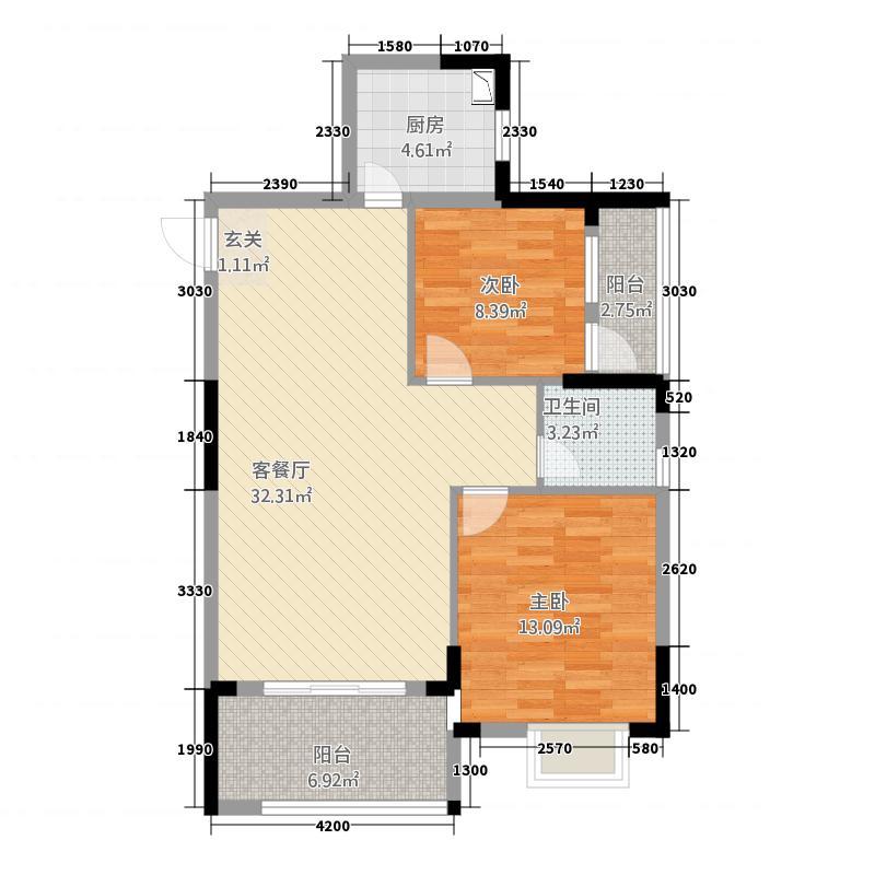 宝庆府邸・观园二期8.40㎡1栋04户型2室2厅1卫1厨
