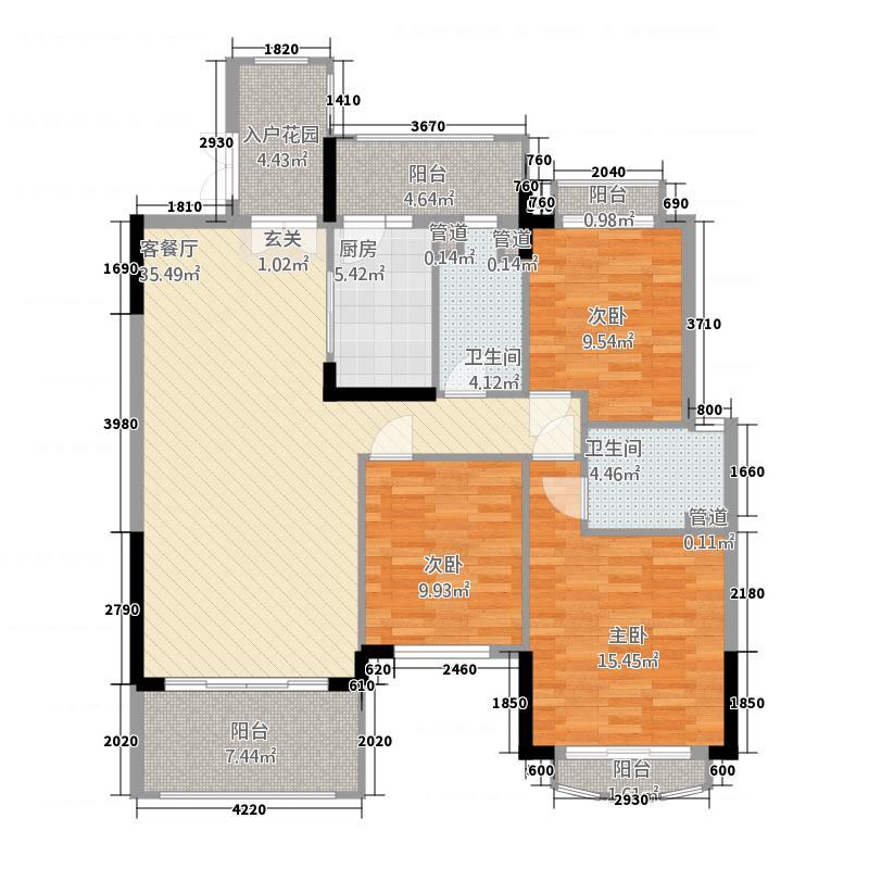 新亚・棕榈园1户型3室2厅2卫1厨