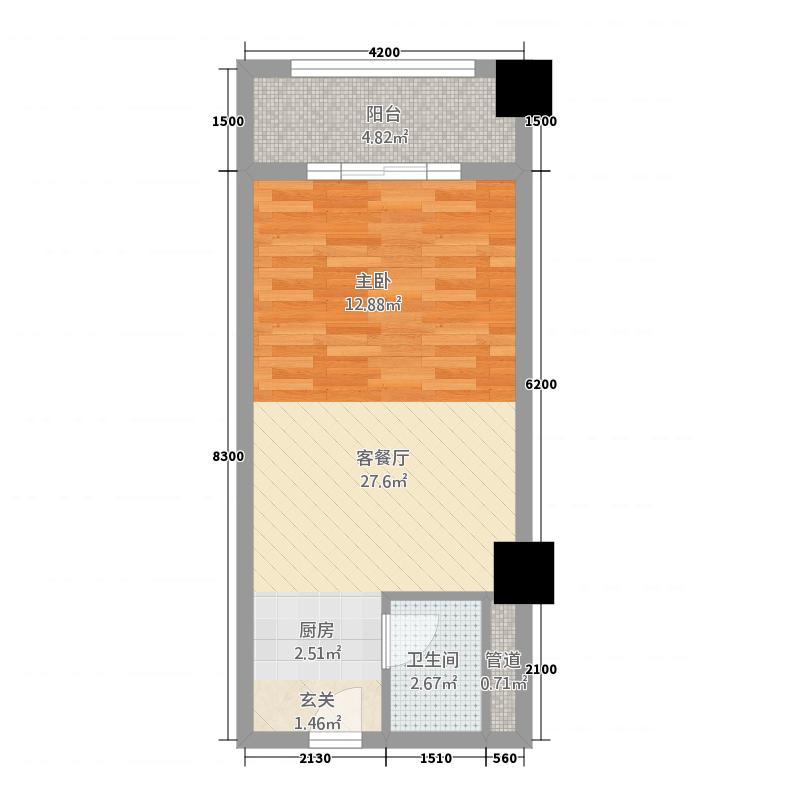 水东投资大厦245.20㎡户型1室1厅1卫