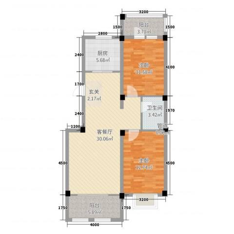 戴河香堤2室1厅1卫1厨88.00㎡户型图