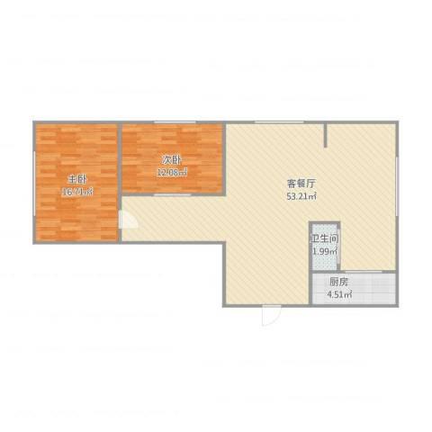 名仕乐居2室1厅1卫1厨117.00㎡户型图