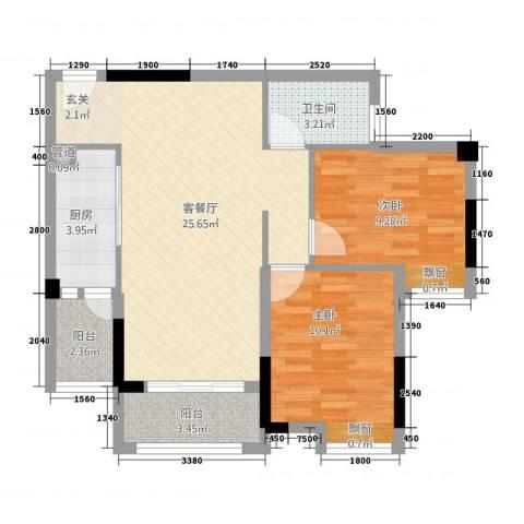 半山午后2室1厅1卫1厨66.80㎡户型图