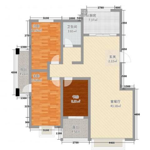 渤海花园3室1厅1卫1厨141.00㎡户型图
