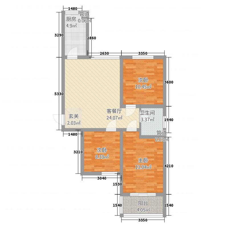 三秀公馆户型3室2厅1卫1厨
