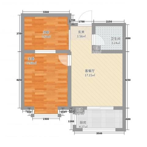天人名仕乐居2室1厅1卫1厨63.00㎡户型图