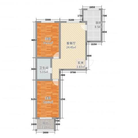 天人名仕乐居2室1厅1卫1厨70.52㎡户型图