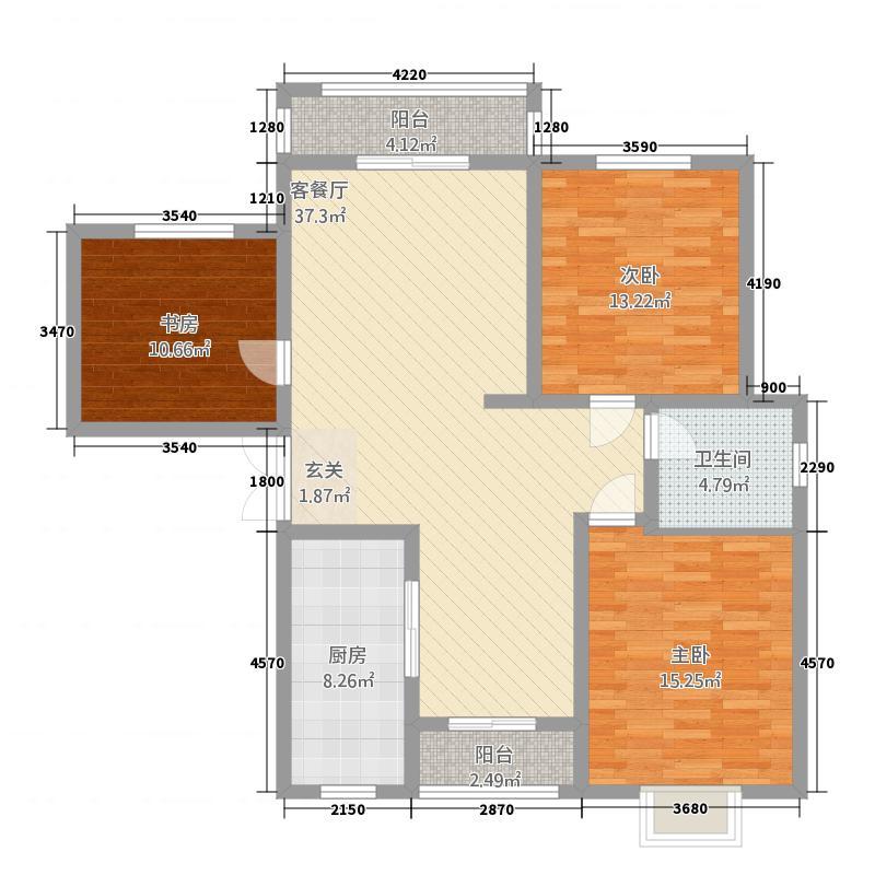 阳光翠海6户型3室2厅2卫1厨
