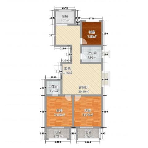 天人名仕乐居3室1厅2卫1厨122.00㎡户型图