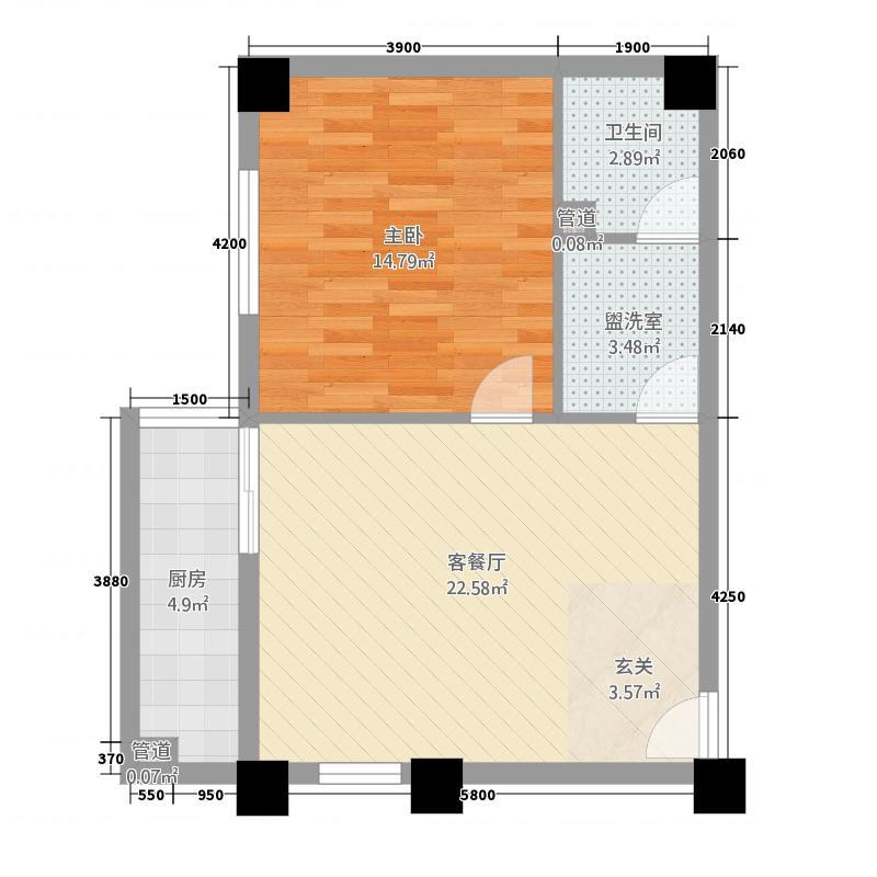 云锦兴庆苑63.28㎡彩色b户型1室2厅1卫1厨