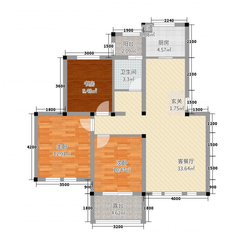 中通・凤凰城5.47㎡公寓E户型3室2厅1卫1厨