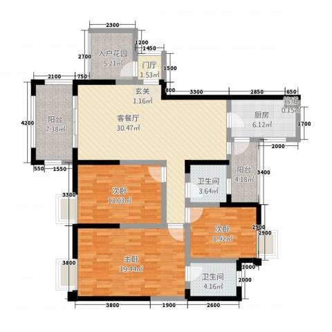 旌城一品3室1厅2卫1厨13136.00㎡户型图