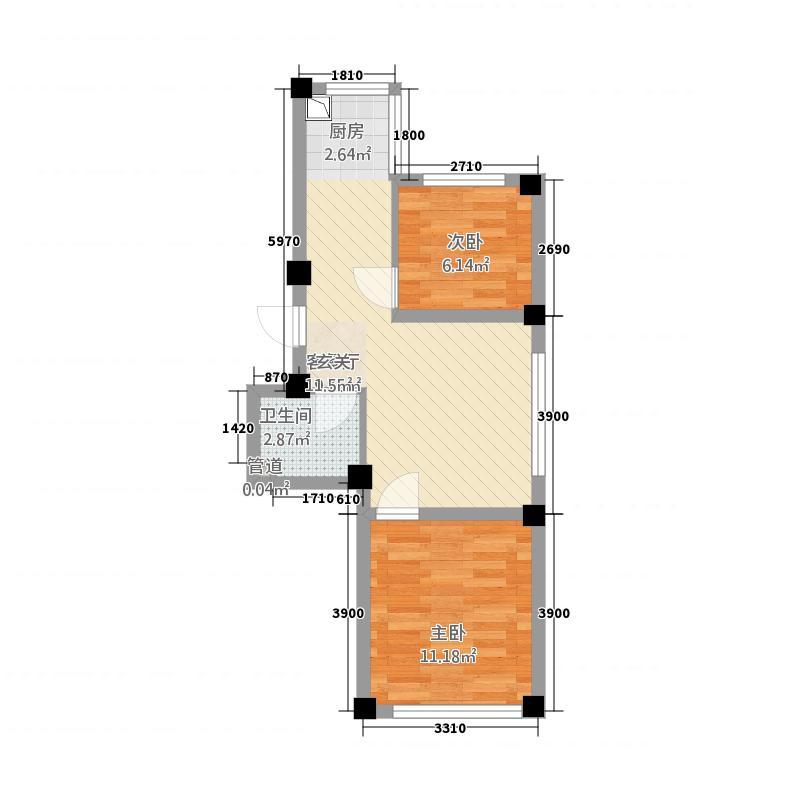 八一家园58.00㎡户型2室1厅1卫1厨