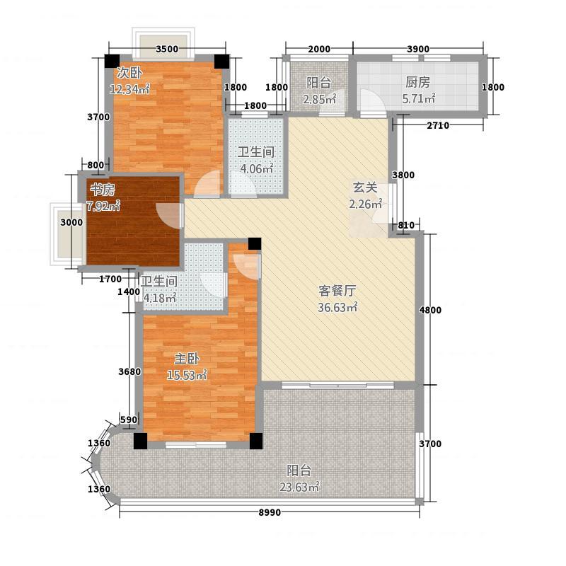 祥荣荔树湾34514.20㎡3#4#5#户型3室2厅2卫1厨
