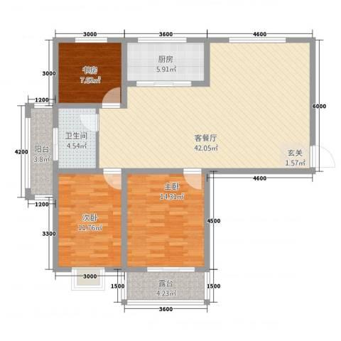 渤海花园3室1厅1卫1厨134.00㎡户型图