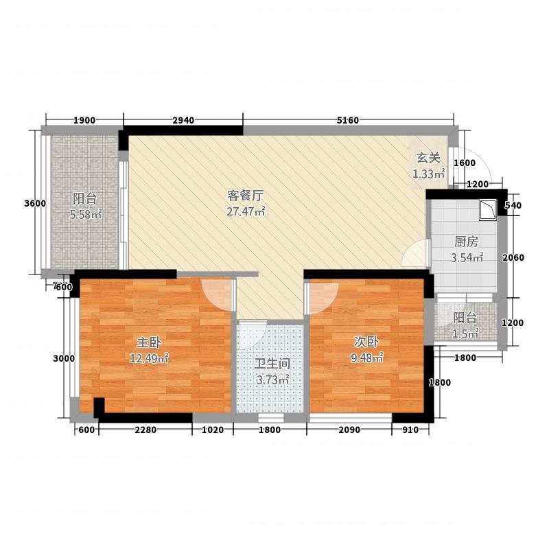 中天・鹭鸶湾84.88㎡增送户型2室2厅1卫1厨