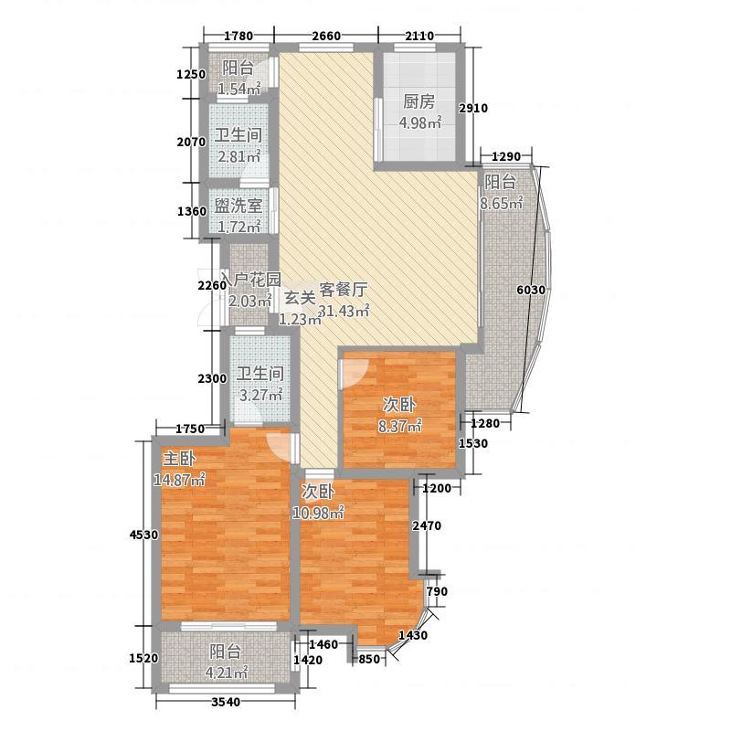 盛世观澜137.00㎡户型3室2厅2卫1厨