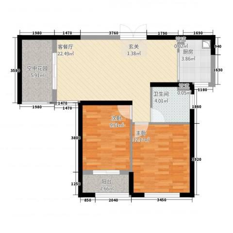 中环城紫荆公馆2室1厅1卫1厨87.00㎡户型图