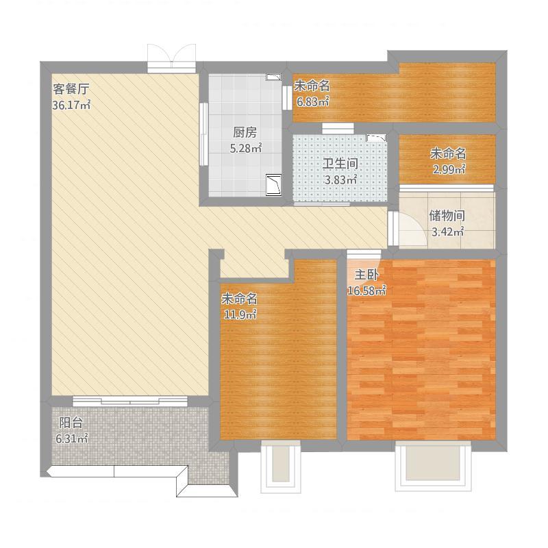 宁波_保利滨湖天地高层F2户型2室2厅1卫1厨 112.44㎡_2015-10-18-1449