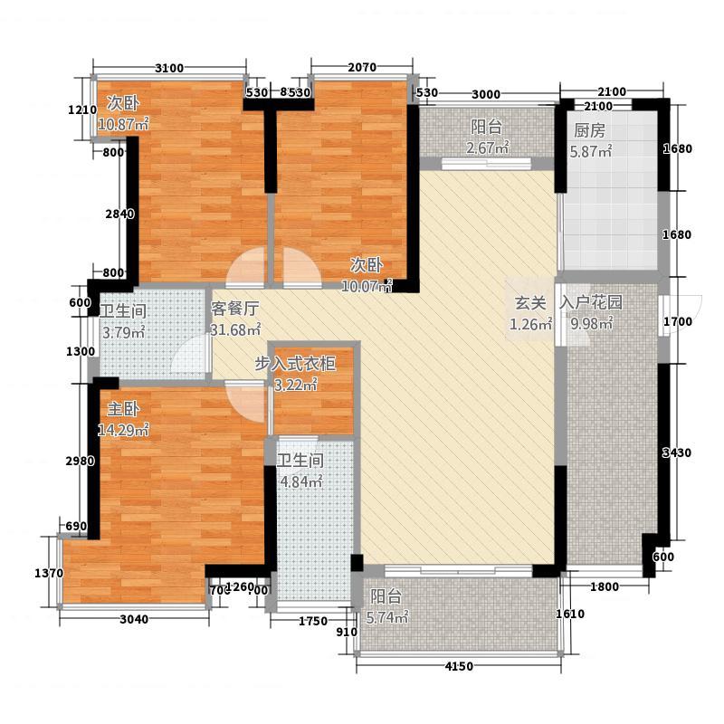 华达・财富港127.25㎡户型3室2厅2卫1厨
