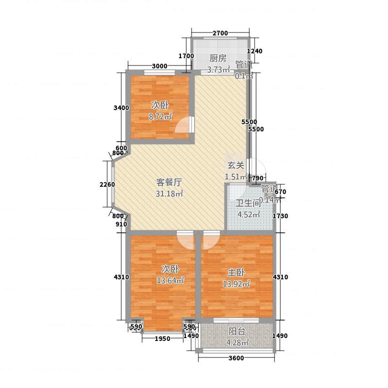 金梦园12.50㎡G户型3室2厅1卫1厨