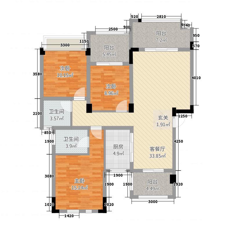 鸿都・英伦首府116.10㎡D1户型3室2厅2卫1厨