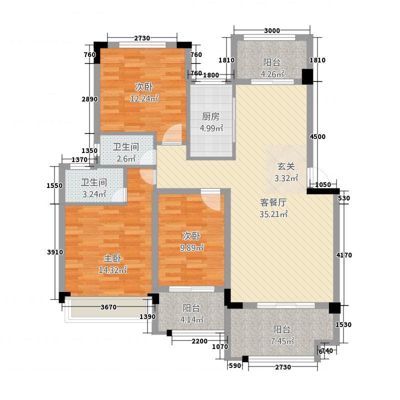 鸿都・英伦首府117.78㎡D2户型3室2厅2卫1厨