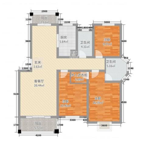 御华园3室1厅2卫1厨126.00㎡户型图