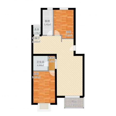 西山枫林2室1厅1卫1厨112.00㎡户型图
