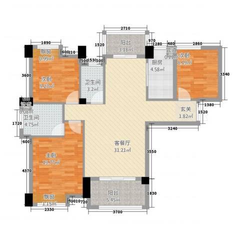 帝豪时代广场3室1厅2卫1厨83.75㎡户型图