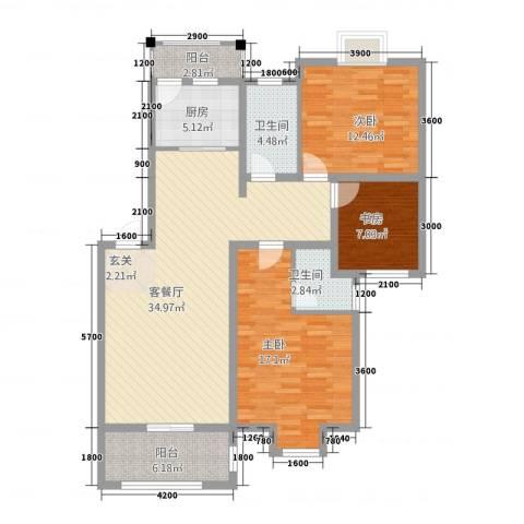 御华园3室1厅2卫1厨92.99㎡户型图
