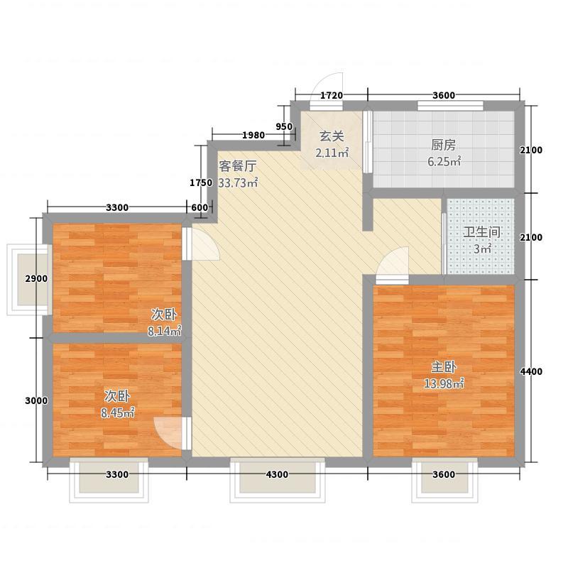 亿山・万合居15.28㎡户型3室2厅1卫